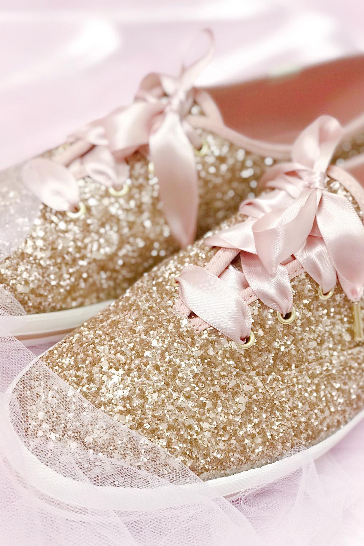 Glittering Shoes Fit For Cinderella: Kate Spade Rose Gold Keds